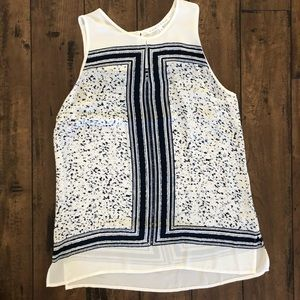 Violet+Claire Navy & white sleeveless Work Blouse